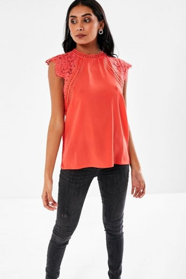 Nelly Lace Sleeves Blouse in Coral