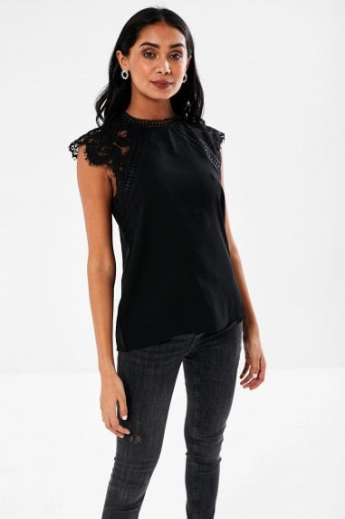 Nelly Lace Sleeves Blouse in Black