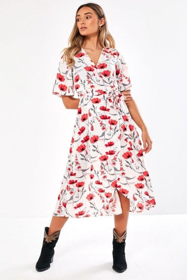 Charlie Floral Wrap Dress in White
