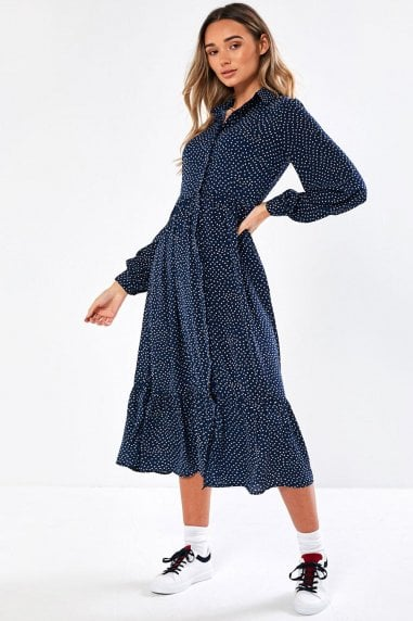 Harrison Shirt Dress in Navy Spot Print