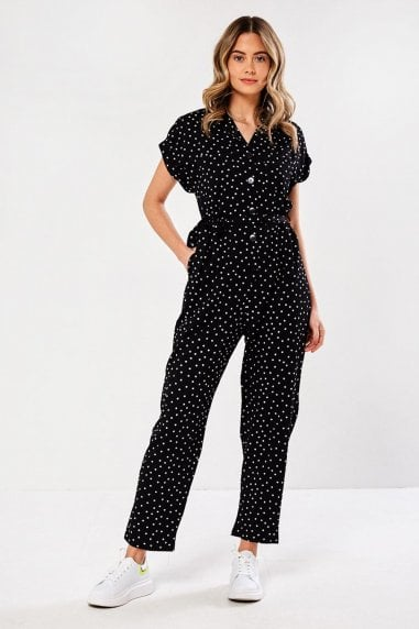 Emily Polka Dot jumpsuit in Black