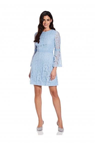 Bell Sleeve Lace A-Line Dress In Powder Blue