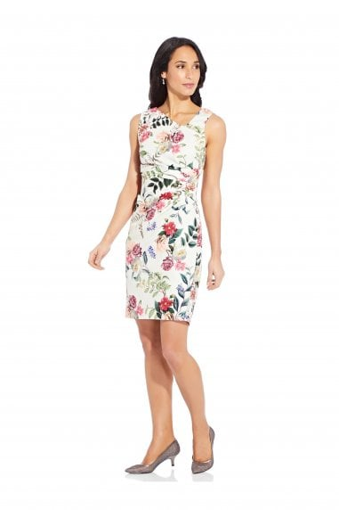 Parisian Garden Draped Sheath In Ivory Multi