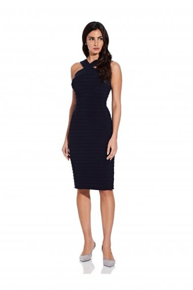 Satin And Jersey Pintuck Dress In Blue Moon