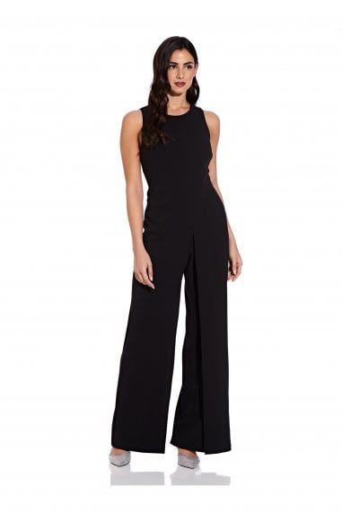 Crepe Halter Jumpsuit In Black