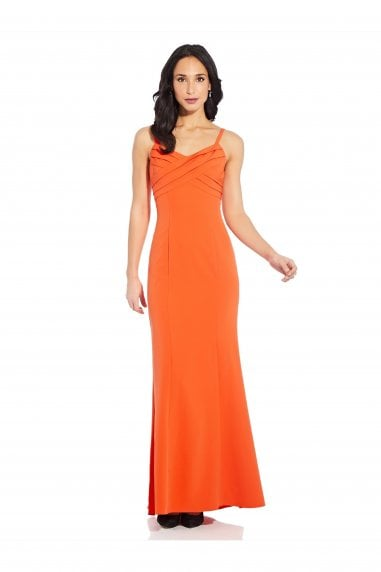 Pleated Mermaid Gown In Neon Tangerine