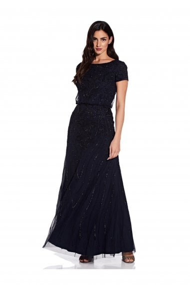 Long Beaded Dress In Midnight/Black