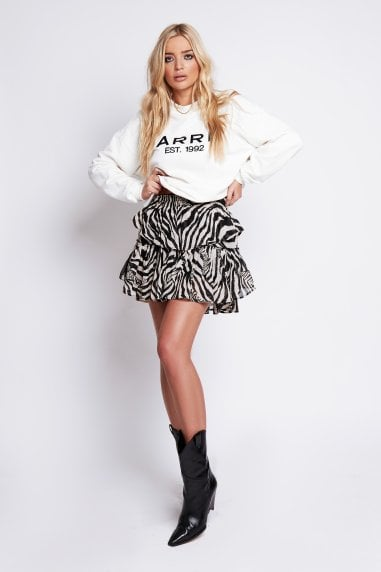 Rose Ruffle Skirt in Zebra Print