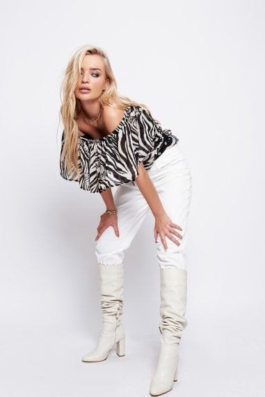 Mia Off The Shoulder top In Zebra Print