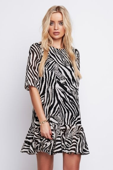 Demi Drop Waist Dress in Zebra Print