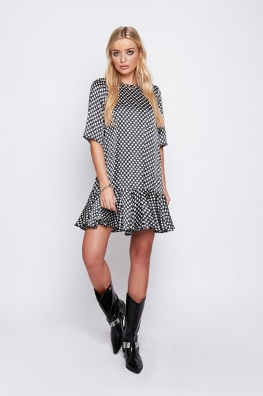 Demi Drop Waist Dress in Black Star Print