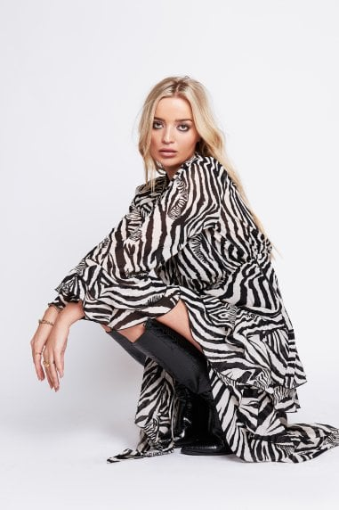 Lou Tiered Midi Dress In Zebra Print