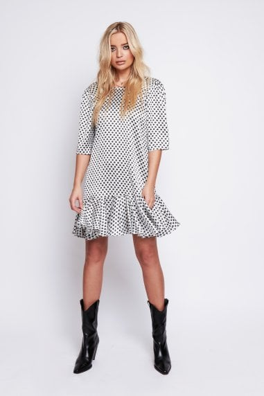 Demi Satin Drop Waist Dress In Black & White Star Print
