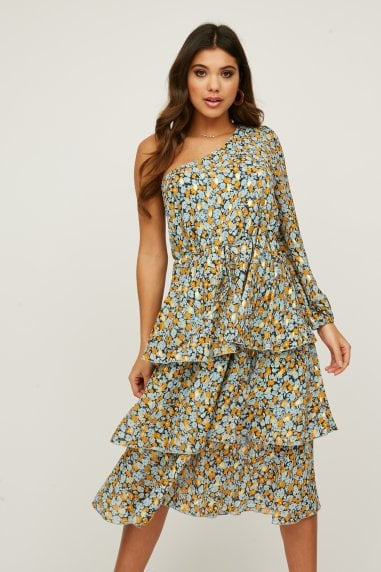 Folli Blue Floral-Print Gold-Fleck Tiered Midi Dress