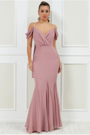 Goddiva Off the Shoulder Wing Back Maxi Dress - Rose