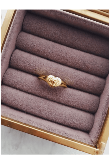 18k Gold Plated Engraved Heart Gold Pinky Ring