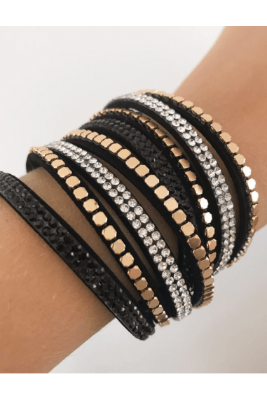 Black Suede & Crystal Wide Wrap Bracelets