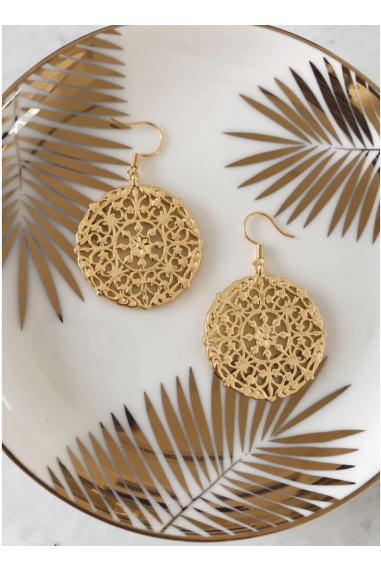 Large Disc Drop Statement Earrings 18k Gold Plated