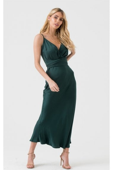 Cami Wrap Tie Midi Dress in Forest Green