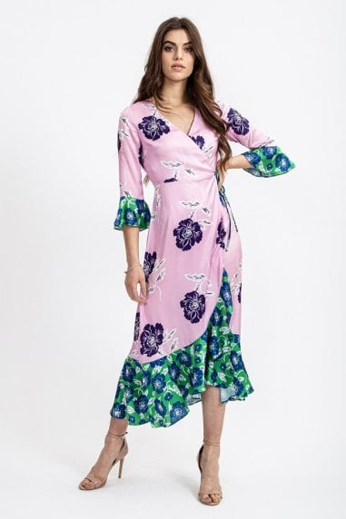 Maxi Wrap Dress With Contrast Hem In Pink Giant Floral Print