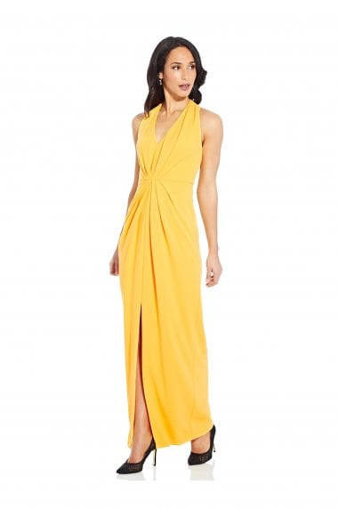Pleated Crepe Gown In Canary Yellow