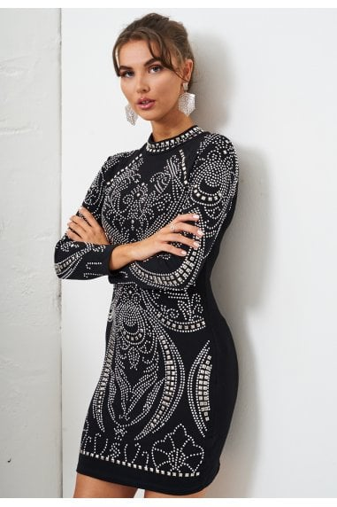Sequin Gown in Black And Silver