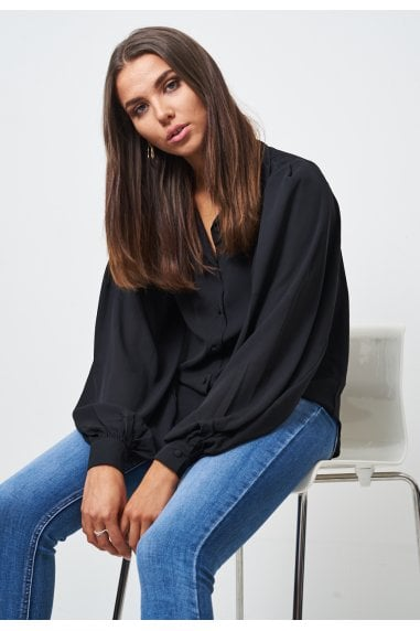 Black Chiffon Blouson Sleeve Shirt