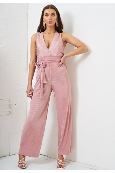 Pink V Neck Pleated Jumpsuit