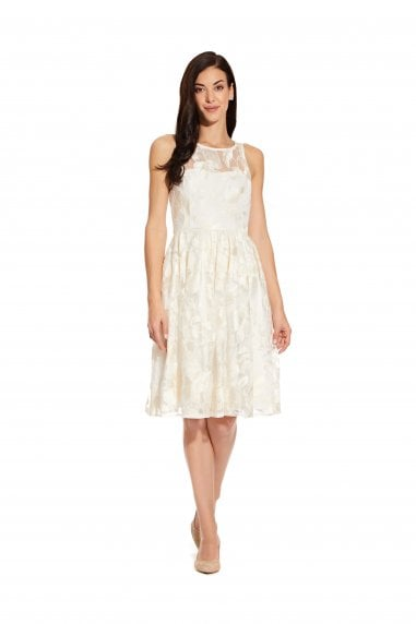 Embroidered Sequin Midi Dress In Ivory