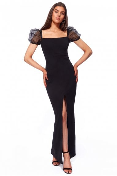 Goddiva Scuba Crepe Maxi Dress with Organza Sleeve - Black