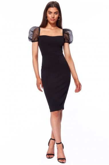 Goddiva Scuba Crepe Midi Dress with Organza Sleeve - Black