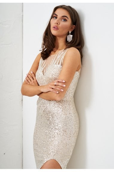 Silver Sequin Gown with Side Split