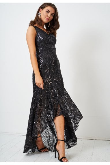 Black Sequin Fishtail Gown