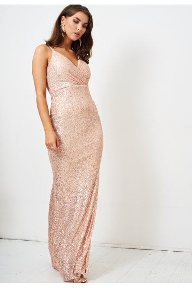 Rose Gold Sequin Wrap Front Gown