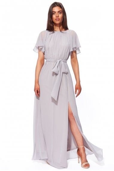 Goddiva Silky Chiffon Wrap Back Maxi Dress - Grey