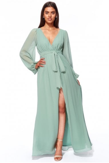 Goddiva Wrap Back Maxi with Front Slit - Sagegreen