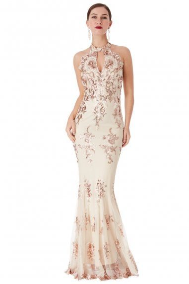 OUTLET Sequin Embroidered Halterneck Maxi Dress - Champagne