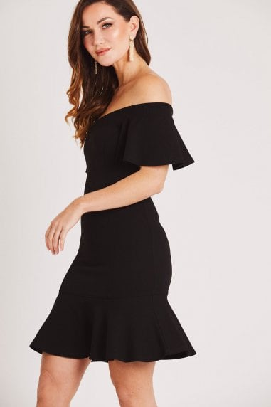 Black Bardot Bodycon Dress with Frill