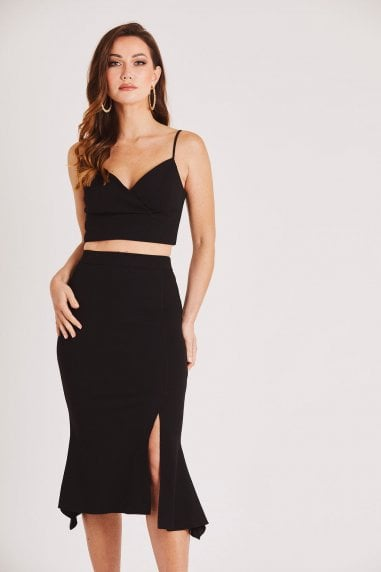 Black Midi Skirt with Front Slit