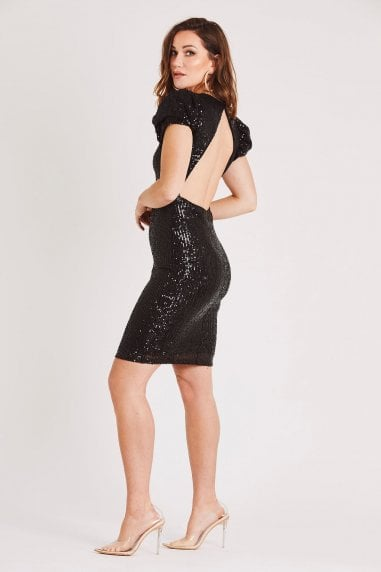 Black Backless Sequin Dress with Puff Sleeve