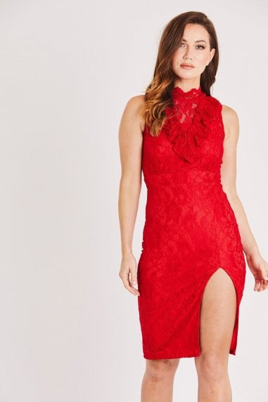 Sleeveless Red Lace Dress with Front Slit