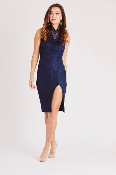 Sleeveless Navy Lace Dress with Front Slit