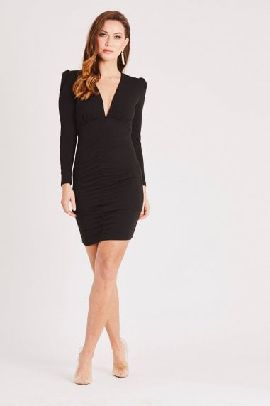 Black Long Sleeve Mini Dress with Plunge Neck & Puff Shoulder