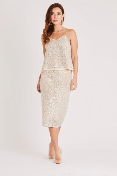 Champagne Sequin Midi Skirt