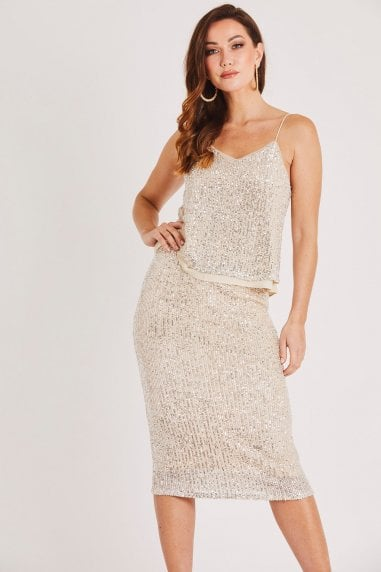 Champagne Sequin Cami Top