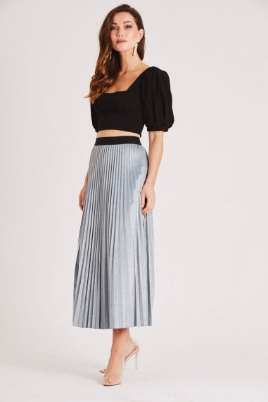 Blue and Silver Pleated Velvet Midi Skirt with Gold Detail