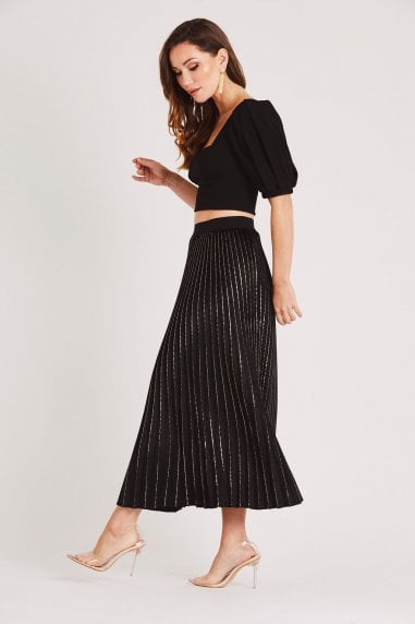 Black Pleated Velvet Midi Skirt with Gold Detail