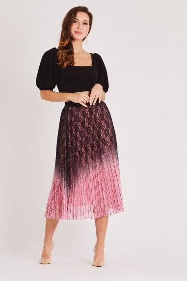 Lace Embroidered Pink and Black Ombre Pleated Midi Skirt