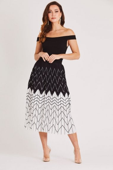 Bardot Pleated Midi Dress in Black/White