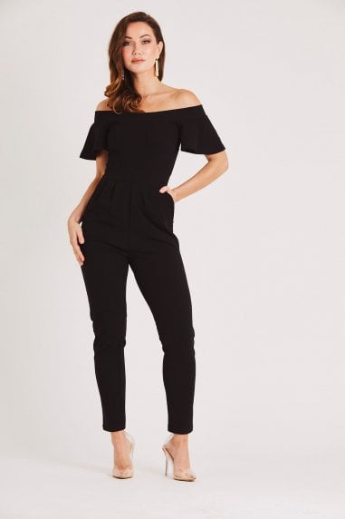 Black Bardot Fitted Jumpsuit with Frill Sleeve